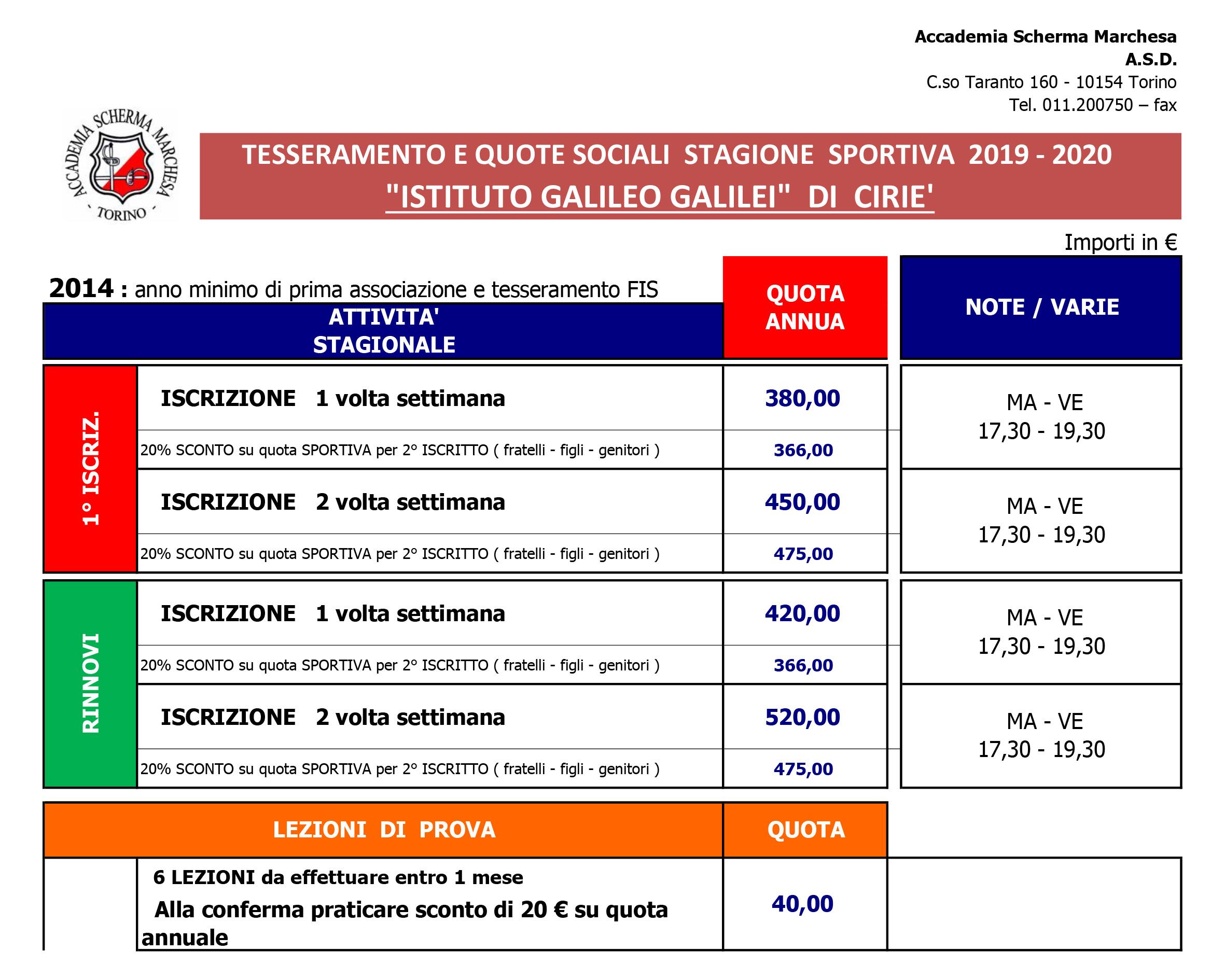 QUOTE SOCIALI 2019-2020 - CIRIE'